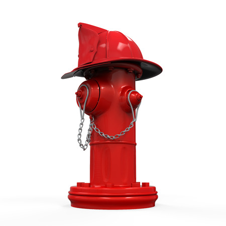 Fire Hydrant with Fireman Hat Banco de Imagens