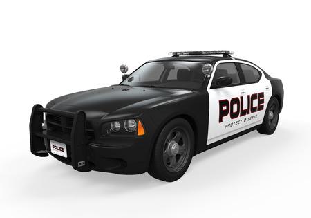 Politie auto geïsoleerd Stockfoto