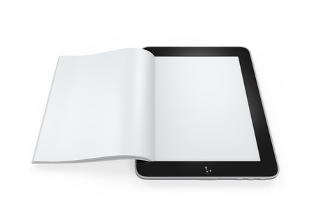 publisher: Book from Tablet Computer Stock Photo