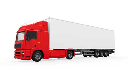 Red Cargo Delivery Truck photo