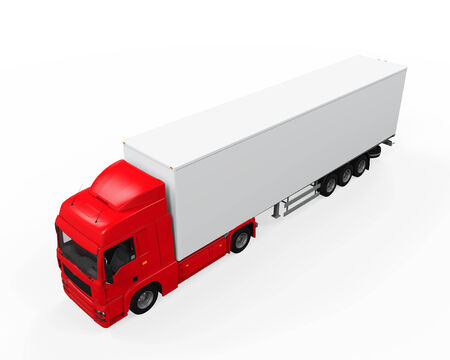 truck trailer: Red Cargo Delivery Truck Stock Photo