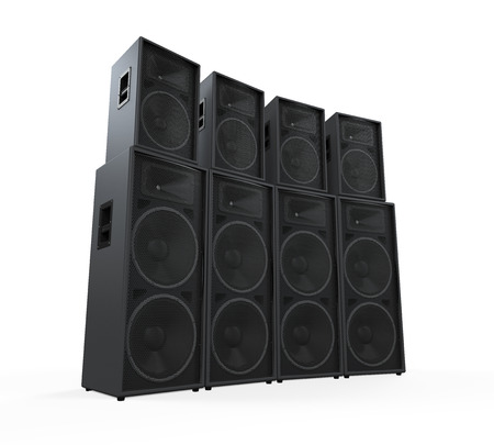 loud speaker: Group of Speakers Stock Photo