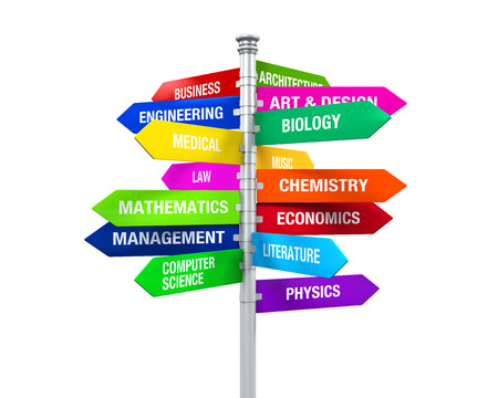 undergraduate: Colorful Direction Sign of Majors