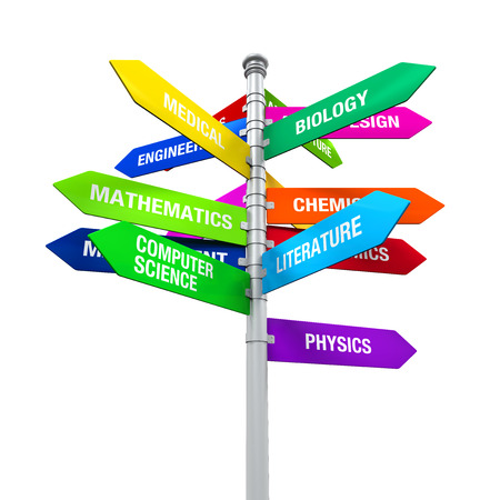 majors: Colorful Direction Sign of Majors