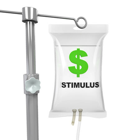 iv bag: IV Bag Economic Stimulus Illustration