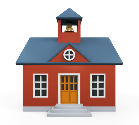 old building facade: School Building Icon Stock Photo