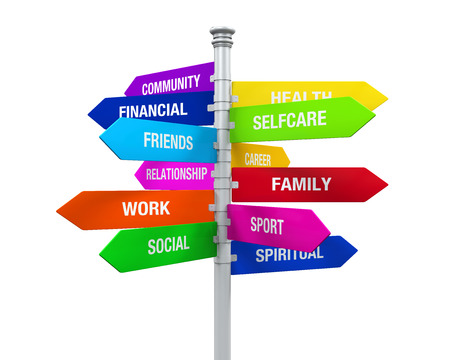 Colorful Direction Sign of Life Balance photo