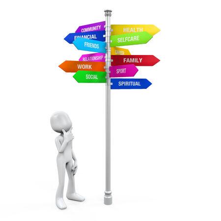autocuidado: Figura mirando Muestra colorida Dirección de Conciliación de la Vida