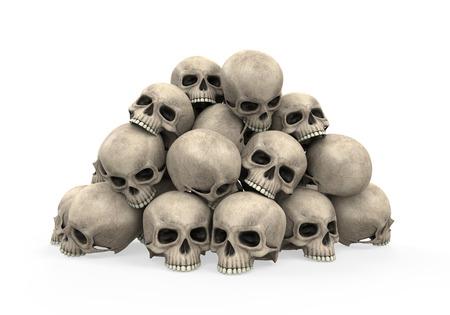 in a pile: Pila de cr�neos
