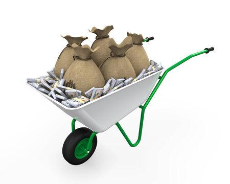 wheelbarrow: Wheelbarrow Full of Dollar Stock Photo