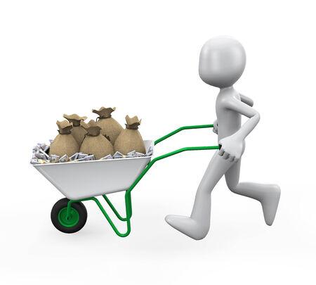 wheelbarrow: Man Pushing a Wheelbarrow Full of Money