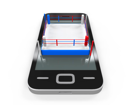 boxing ring: Boxing Ring in Mobile Phone Stock Photo