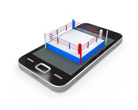 fight arena: Boxing Ring in Mobile Phone Stock Photo