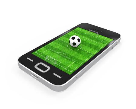 sports app: Soccer Field in Mobile Phone Stock Photo