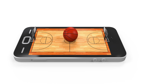 basketball court: Basketball Court in Mobile Phone Stock Photo