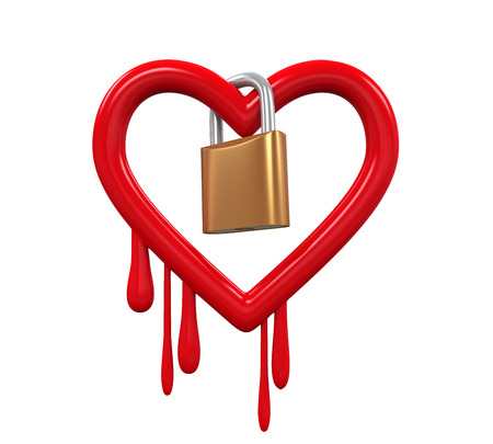 vulnerable: Heartbleed Bug and Padlock Stock Photo