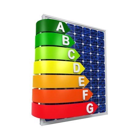 energy ranking: Energy Efficiency Rating and Solar Panel Stock Photo