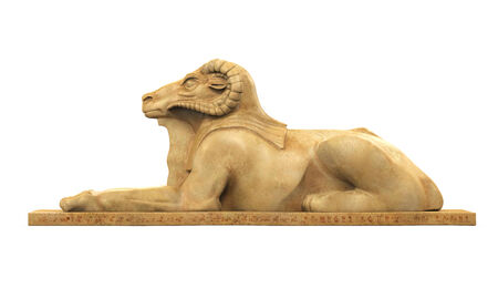 past civilizations: Egyptian Ram Headed Sphinx Statue Stock Photo