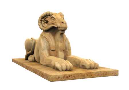 ancient egyptian civilization: Egyptian Ram Headed Sphinx Statue Stock Photo