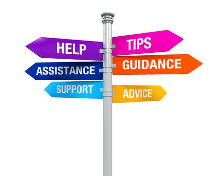 記号の方向サポート ヘルプ ヒント アドバイス指導支援 写真素材
