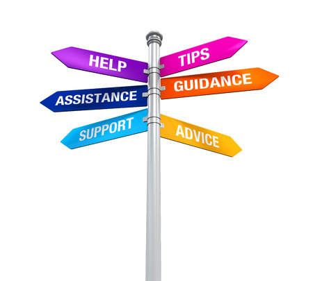 advice: Sign Directions Support Help Tips Advice Guidance Assistance Stock Photo