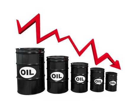 price drop: Oil Barrels with Red Arrow