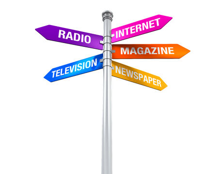 tv network: Sign Directions of Media Information Stock Photo