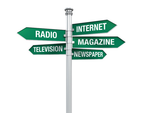 print media: Sign Directions of Media Information Stock Photo