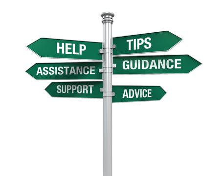 Llegar Sign Apoyo Ayuda Consejo de Orientación Ayuda Tips Foto de archivo - 29621666