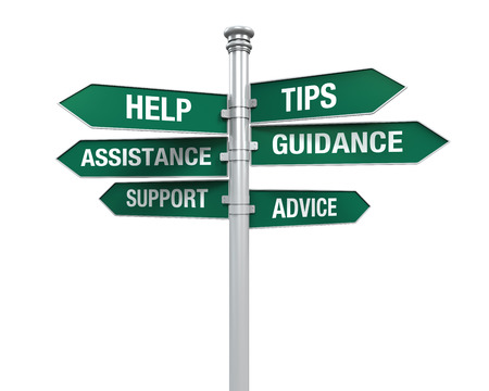 assistance: Sign Directions Support Help Tips Advice Guidance Assistance Stock Photo