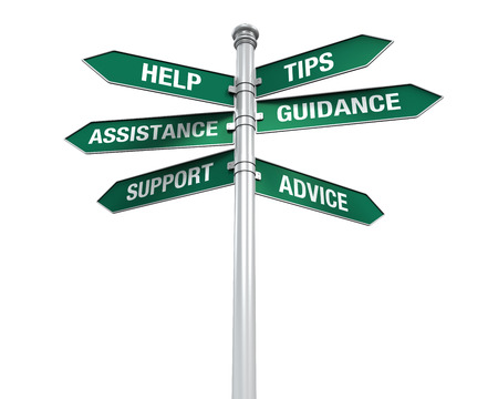 Sign Directions Support Help Tips Advice Guidance Assistance photo