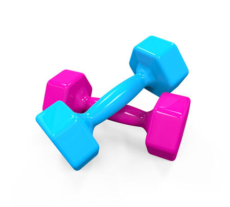 lifting weights: Plastic Coated Dumbbells