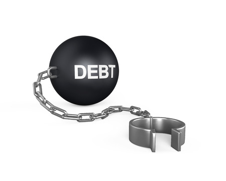 liberate:  Debt  Ball and Chain Stock Photo