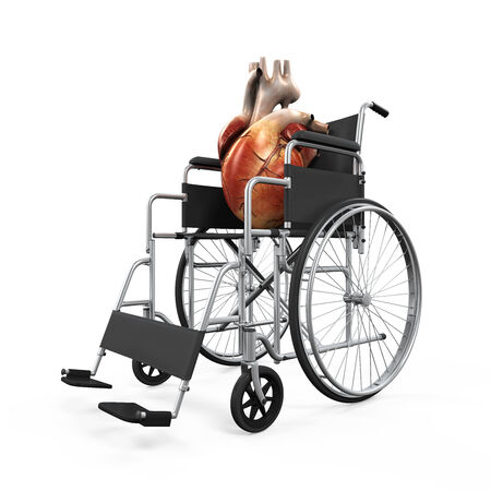 accident rate: Human Heart on Wheelchair Illustration Stock Photo
