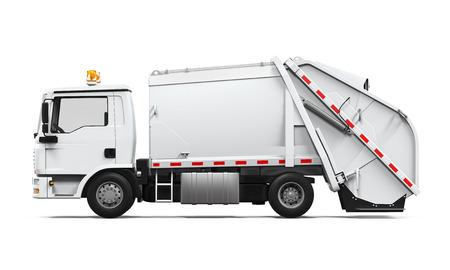 basurero: Camión de basura aislado Foto de archivo
