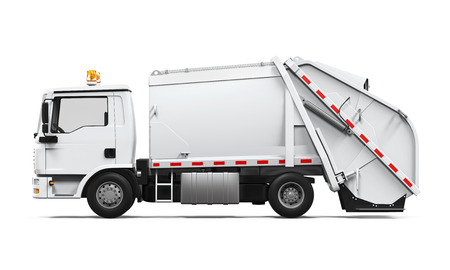 dump truck: Garbage Truck Isolated