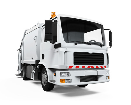 white truck: Garbage Truck Isolated