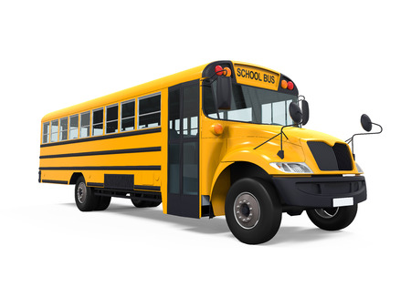 school boys: Yellow School Bus Stock Photo