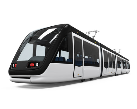 electric train: Modern Tram Isolated Stock Photo