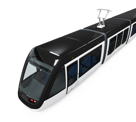 streetcar: Modern Tram Isolated Stock Photo