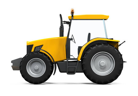 Yellow Tractor Isolated photo