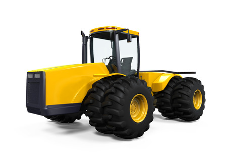 Yellow Tractor Isolated photo