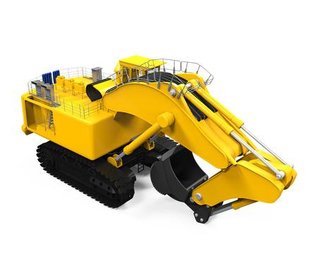 backhoe loader: Yellow Excavator Isolated