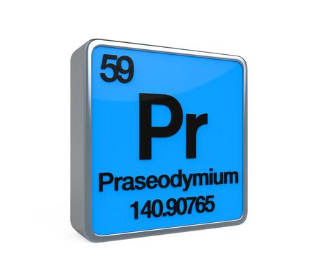 noble gas: Praseodymium Element Periodic Table Stock Photo