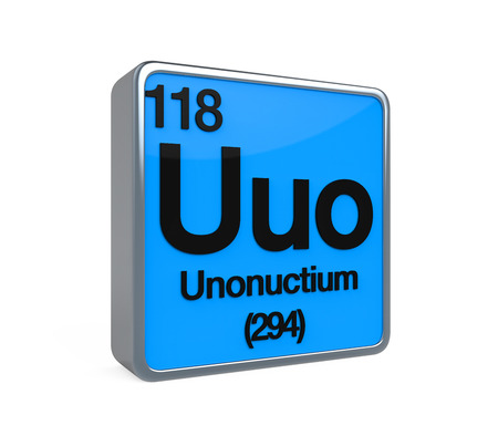 radon: Unonuctium Element Periodic Table Stock Photo