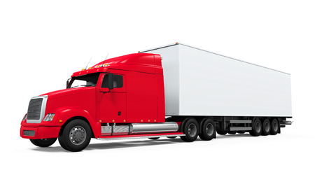 moving truck: Red Cargo Delivery Truck Stock Photo