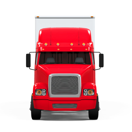 cargo truck: Red Cargo Delivery Truck Stock Photo