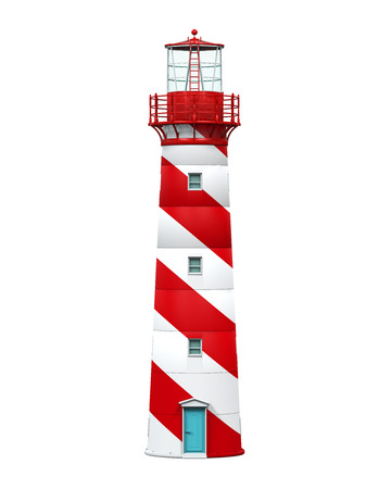 lighthouse at night: Red Lighthouse Isolated