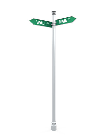 main street: Direction Sign of  Main Street and Wall Street Stock Photo