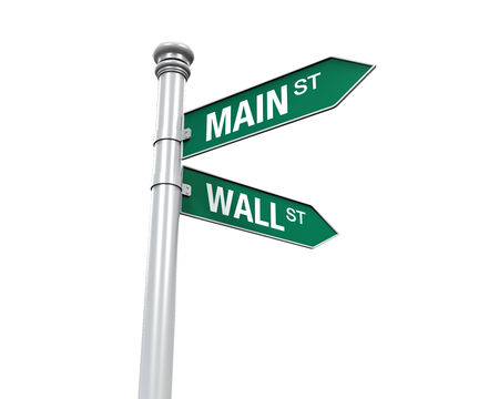 Direction Sign of  Main Street and Wall Street photo